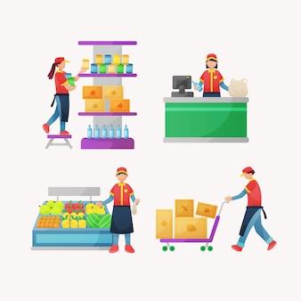 Collection de travailleurs de supermarché
