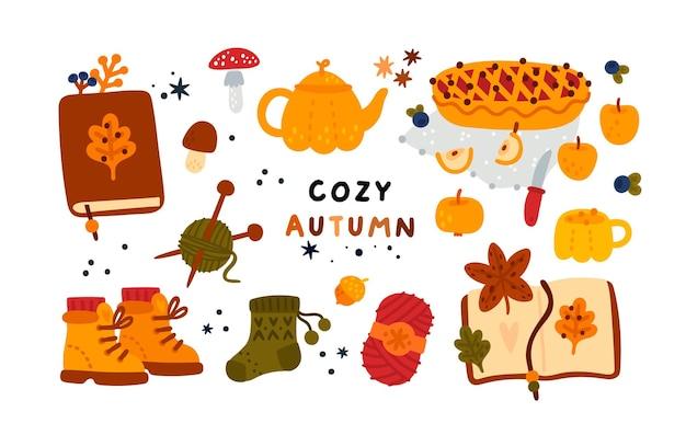 Collection de trésors d'automne de la nature pour créer une atmosphère chaleureuse et de bonne humeur
