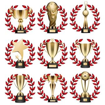 Collection de trophées d'or dans les couronnes rondes sur blanc