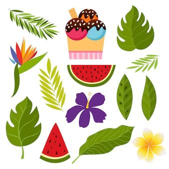 Collection tropicale avec des fleurs et des feuilles exotiques.