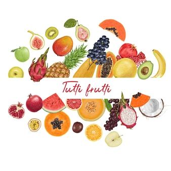 Collection tropicale de fruits juteux et frais