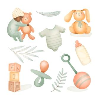 Collection de trucs pour bébé aquarelle