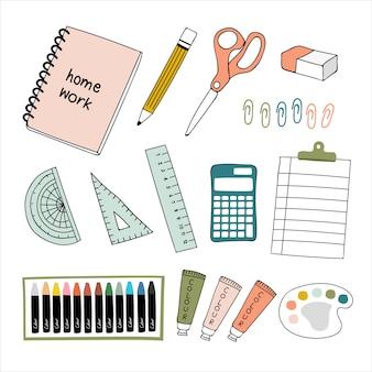 Collection de trucs scolaires.
