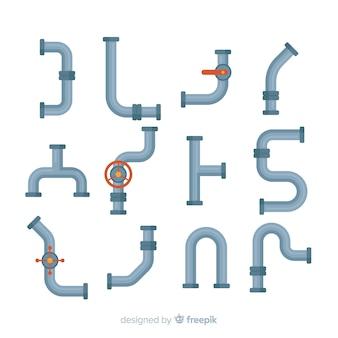 Collection de tuyaux design plat avec différentes formes