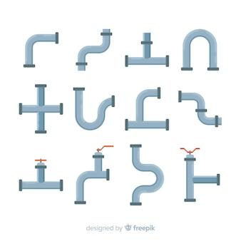 Collection de tuyaux en forme différente design plat