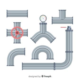 Collection de tuyaux en métal design plat avec levier