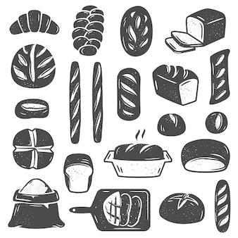 Collection de types assortis de pain et de pâtisserie de différentes formes