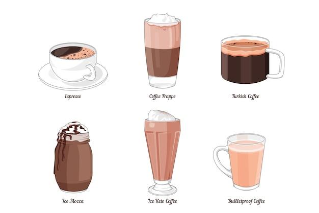 Collection de types de café