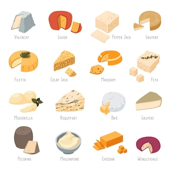 Collection de types de cheee, ensemble de produits laitiers
