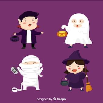 Collection de types halloween au design plat