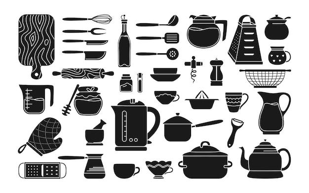 Collection d'ustensiles de cuisine monochrome