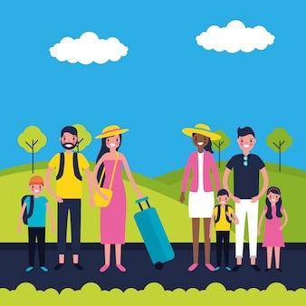 Collection de vacances des familles