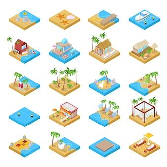 Collection de vacances à la plage isométrique