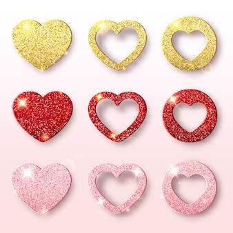 Collection de vacances de saint valentin. ensemble de formes de coeur scintillant. décorations festives placeur de paillettes lumineuses. scène romantique
