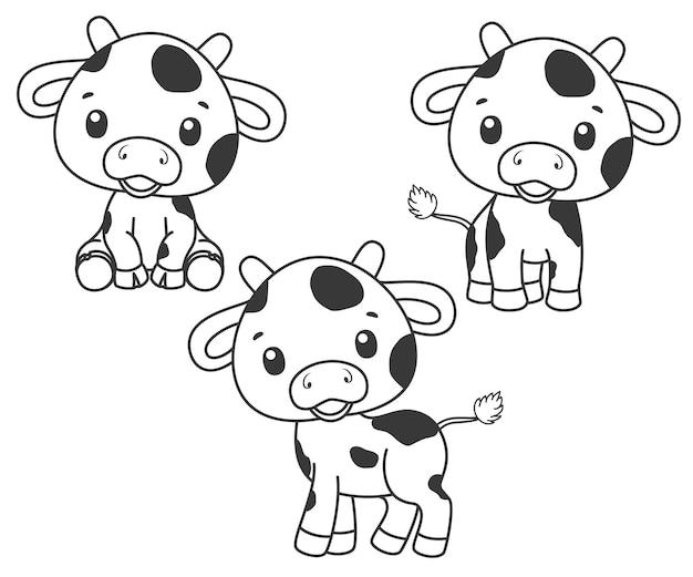 Une collection de vaches mignonnes de bande dessinée. illustration vectorielle noir et blanc pour un livre de coloriage. dessin de contours.
