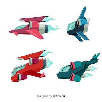 Collection de vaisseau spatial futuriste au design plat