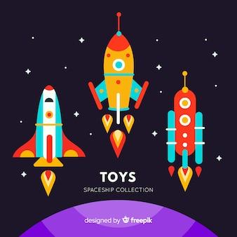 Collection de vaisseaux spatiaux colorés avec un design plat