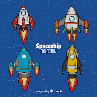 Collection de vaisseaux spatiaux dessinés à la main
