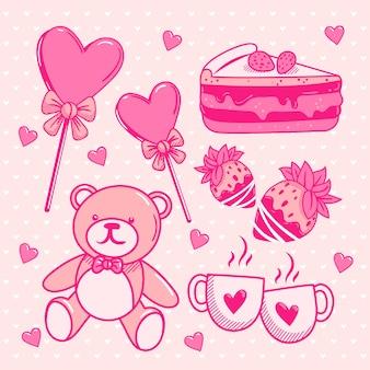 Collection de valentines dessinés à la main