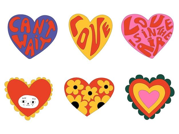 Collection de valentines vintage dans un style hippie