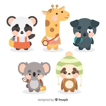 Collection variée d'animaux de la rentrée scolaire