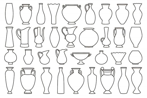 Collection de vases et d'amphores, linéaire