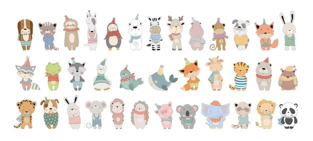 Collection de vecteur d'animaux mignons de bande dessinée