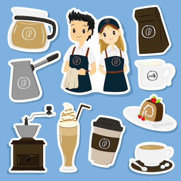 Collection de vecteur autocollants café