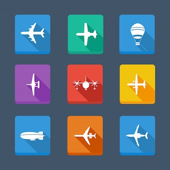 Collection de vecteur avion et gris. définir des icônes