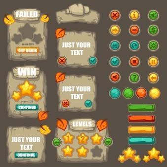 Collection de vecteur de boutons, objets, éléments de l'interface, zones de texte et bulles