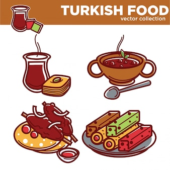 Collection de vecteur de cuisine turque avec de délicieux plats exotiques