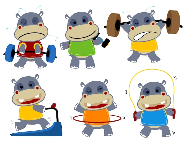 Collection de vecteur de dessin animé hippo