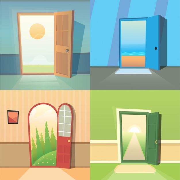 Collection de vecteur de dessin animé de porte ouverte. ensemble de quatre portes mignonnes.