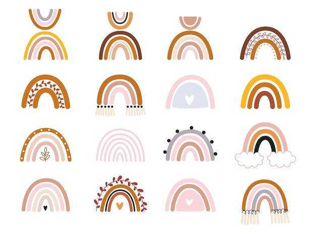 Collection de vecteur dessinés à la main pour la décoration de la pépinière avec une jolie couleur pastel d'arcs-en-ciel