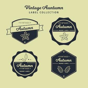 Collection de vecteur étiquette automne vintage