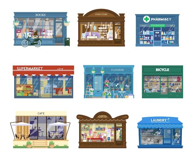 Collection de vecteur d'extérieurs de bâtiments de magasins.