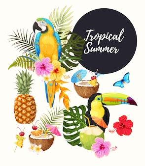 Collection de vecteur d'illustrations d'été tropical