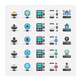 Collection de vecteur de jeu d'icônes de serveur autonome