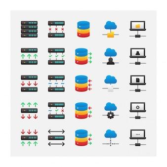Collection de vecteur de jeu d'icônes de stockage serveur intelligent nuage