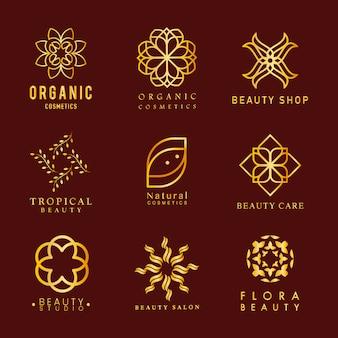 Collection de vecteur de logo de cosmétiques bio