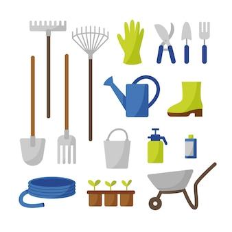 Collection de vecteur d'outils de jardinage dans un style plat
