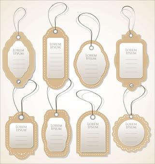 Collection de vecteur papier étiquette de prix style vintage rétro design
