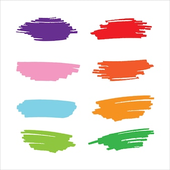Collection de vecteur de peinture à la main jeu de coups de pinceau créatif isolé sur fond blanc
