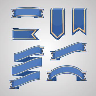 Collection de vecteur de rubans bleus