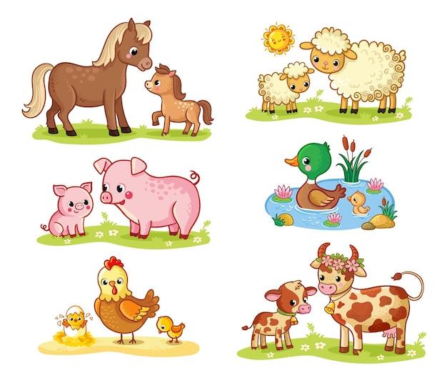 Collection de vecteurs avec des animaux domestiques et leurs enfants