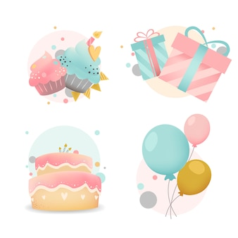 Collection de vecteurs de badge anniversaire coloré