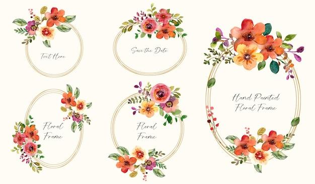 Collection De Vecteurs De Cadre Floral Aquarelle Avec Des Fleurs Rouges Et Des Feuilles Vertes Vecteur Premium