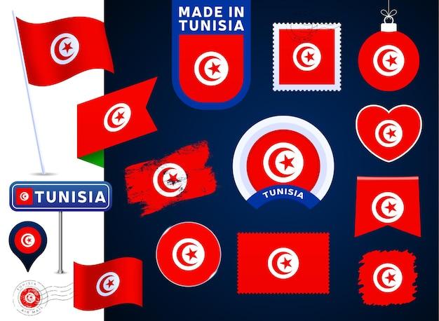 Collection de vecteurs de drapeau de la tunisie. grand ensemble d'éléments de conception de drapeau national sous différentes formes pour les jours fériés publics et nationaux dans un style plat. cachet de la poste, fabriqué en, amour, cercle, panneau de signalisation, vague