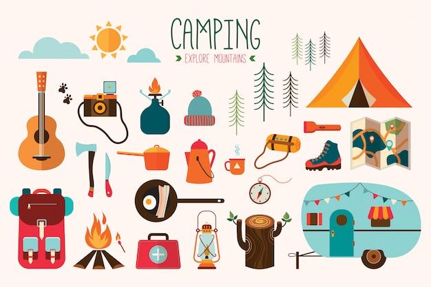 Collection de vecteurs d'équipement de camping