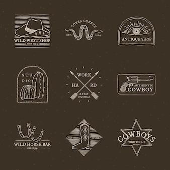 Collection de vecteurs de logo sur le thème de cow-boy